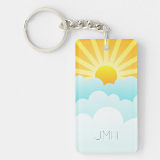 Sunny Day Whimsical Sun Rays and Clouds Monogram Double-Sided Rectangular Acrylic Keychain