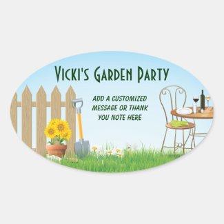 Sunny Days Garden Party Oval Sticker