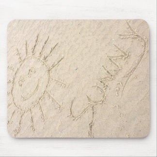 Sunny days smiley face sun on the beach mouse pad