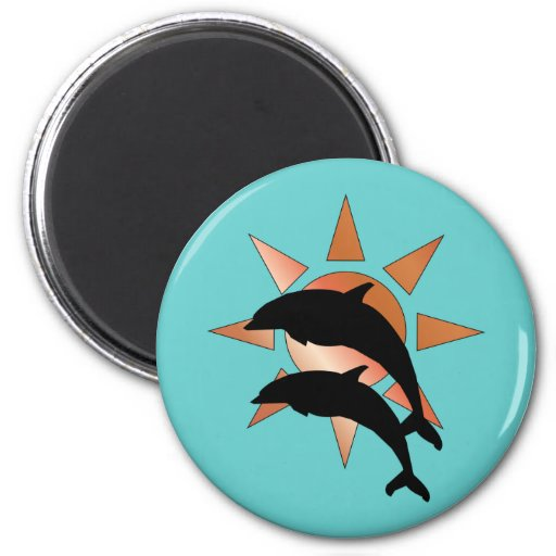 Sunny Dolphin 2 Inch Round Magnet