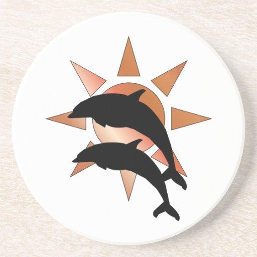 Sunny Dolphin Drink Coasters