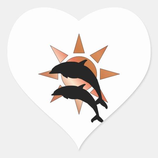 Sunny Dolphin Heart Sticker