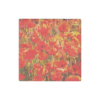 Sunny Field of Red Poppies Wildflowers Art Design Stone Magnet