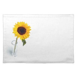 Sunny floral bright Sunflower flower photograph Cloth Placemat
