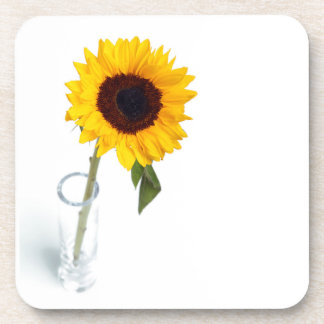 Sunny floral bright Sunflower flower photograph Drink Coaster