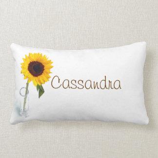 Sunny floral bright Sunflower flower photograph Lumbar Pillow