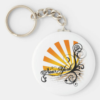 Sunny Floral Graphic New York Keychain