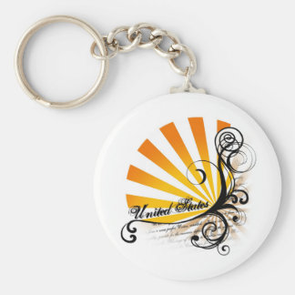 Sunny Floral Graphic United States Keychain