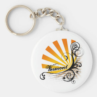 Sunny Floral Graphic Vermont Keychain
