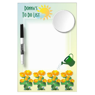Sunny Flowers ~ Dry Erase Board With Mirror