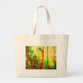 Sunny forest tote bags