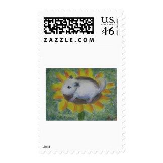 Sunny hamster postage stamp