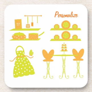 """""""Sunny Kitchen Collection"""" Hard Plastic Coasters"""