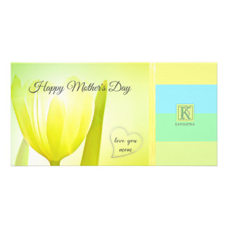 Sunny Lime Pastel Palette Tulip Photo Monogram Card