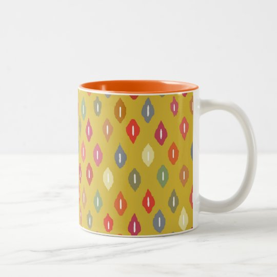sunny little ikat diamonds Two-Tone coffee mug