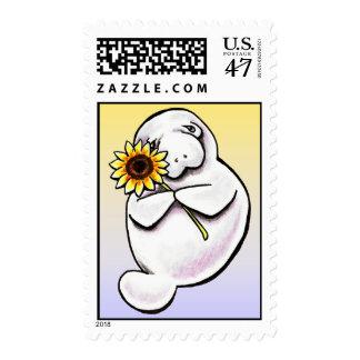 Sunny Manatee Off-Leash Art™ Postage Stamp