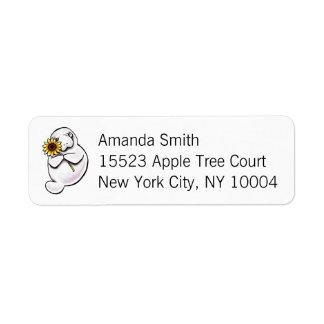 Sunny Manatee Off-Leash Art™ Simple Return Address Label
