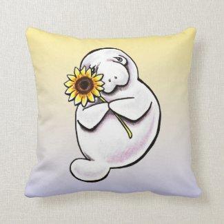 Sunny Manatee Off-Leash Art™ Throw Pillow
