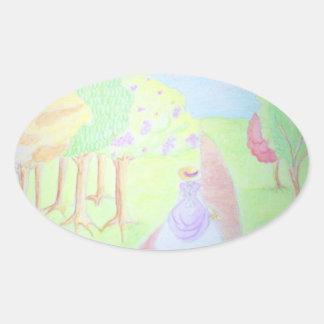 Sunny Morning Walk Oval Sticker