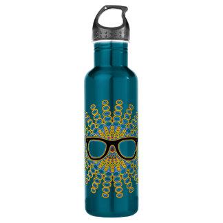 Sunny Nerd Glasses + your backgr. & ideas 24oz Water Bottle