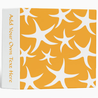 Sunny Orange and White Starfish Pattern. 3 Ring Binder