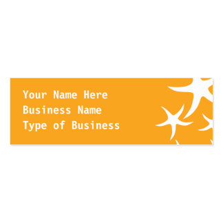 Sunny Orange and White Starfish Pattern. Double-Sided Mini Business Cards (Pack Of 20)
