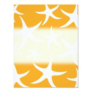 Sunny Orange and White Starfish Pattern. 4.25x5.5 Paper Invitation Card