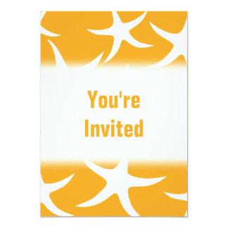 Sunny Orange and White Starfish Pattern. 5x7 Paper Invitation Card