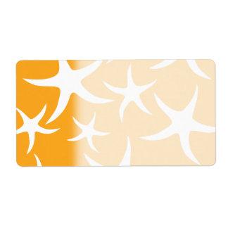 Sunny Orange and White Starfish Pattern. Shipping Label