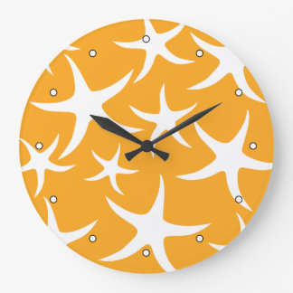 Sunny Orange and White Starfish Pattern. Large Clock