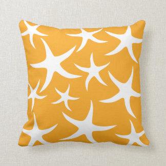 Sunny Orange and White Starfish Pattern. Throw Pillow