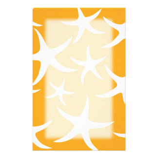 Sunny Orange and White Starfish Pattern. Stationery