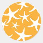 Sunny Orange and White Starfish Pattern. Stickers