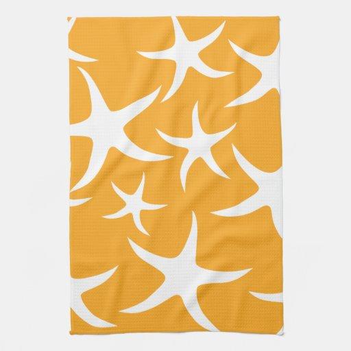 Sunny Orange and White Starfish Pattern. Towel
