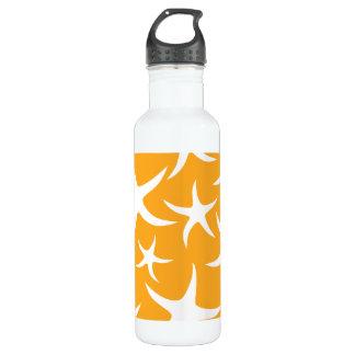 Sunny Orange and White Starfish Pattern. Water Bottle