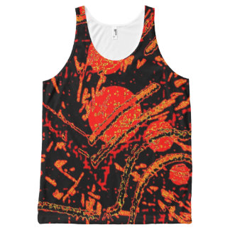Sunny Orange & Black Planets Tank Top All-Over Print Tank Top