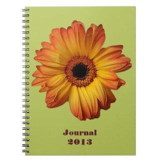Sunny Orange gerbera flower bloom Note Books