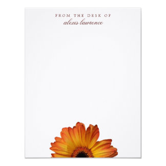 Sunny Orange gerbera flower from the desk of note Card