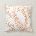 Sunny Orange Natural Flora Decorative Line Art Throw Pillows