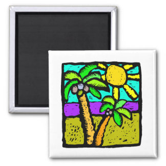 Sunny Palms 2 Inch Square Magnet