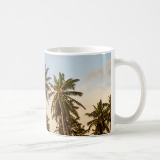 Sunny Paradise Sunset with Palms in Vintage Style Coffee Mug