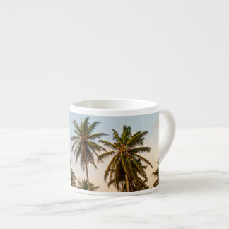 Sunny Paradise Sunset with Palms in Vintage Style Espresso Cup