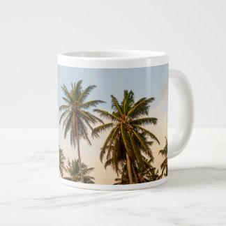 Sunny Paradise Sunset with Palms in Vintage Style Large Coffee Mug
