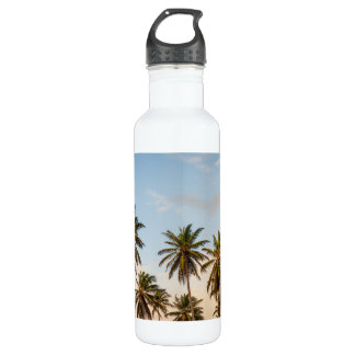 Sunny Paradise Sunset with Palms in Vintage Style Water Bottle