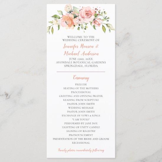 Sunny Pastel Floral Wedding Program Rack Cards