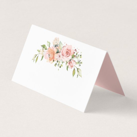 Sunny Pastel Peach Pink Floral Bouquet Greenery Place Card