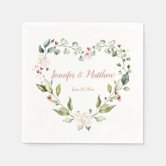 Sunny Peach Pink Heart Wreath Wedding Napkins
