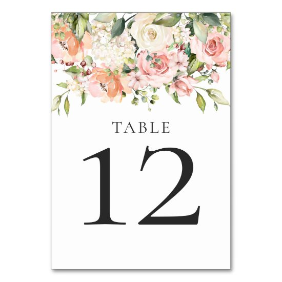 Sunny Peach Pink White Floral Bouquets Table Table Number