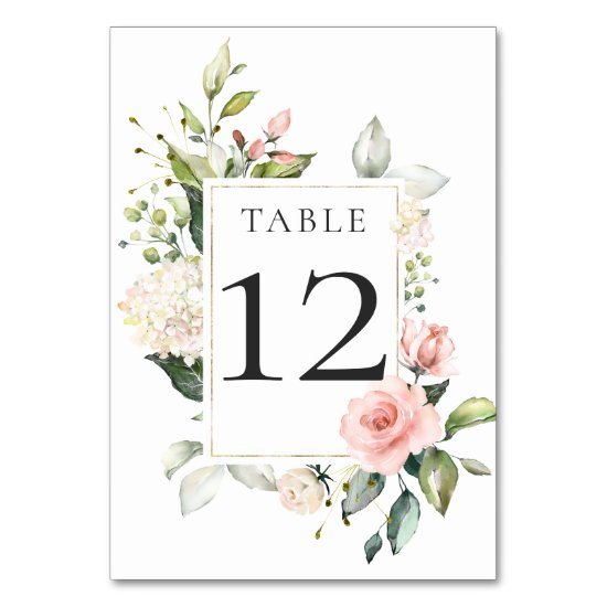 Sunny Peach Pink White Floral Framed Table Card