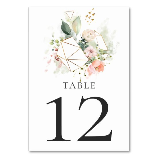 Sunny Peach Pink White Floral Gold Geometric Table Table Number